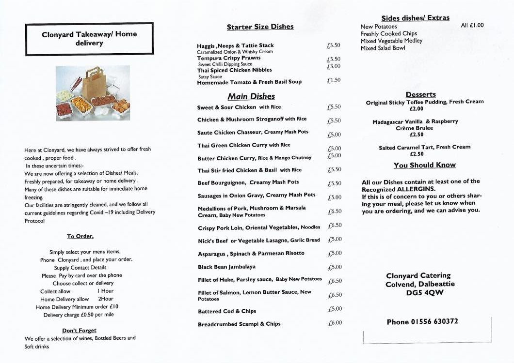Home Delivery Menu - Meals, alcohol and Kitchen Supplies