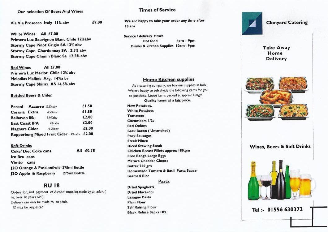 Home Delivery Drinks & Kitchen Supplies Menu